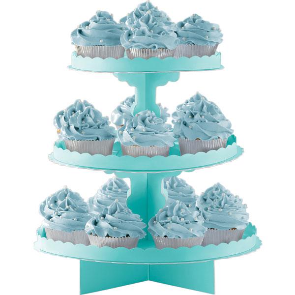 Party Bite Expositor Cupcakes Azul Turquesa Expositores Para